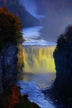 Huge #Waterfall in #Letchworth #State #Park, New York   From @GuessQuest collection