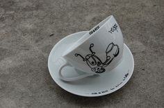 For.Rest for Lokum il Caffe. Hand-Painted cappuccino cup.
