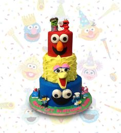 Sesame Street Faces by MsTreatz - http://cakesdecor.com/cakes/287696-sesame-street-faces