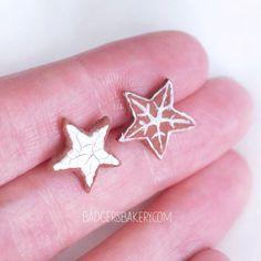 Gingerbread STAR COOKIE Earrings, CHRISTMAS Studs, Cute Miniature Food Jewelry