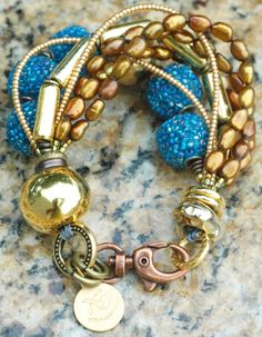 Holiday Inspired Gold, Bronze, Pearl and Exotic Blue Glass Bracelet