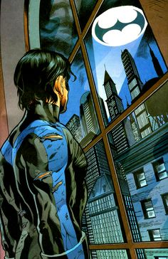 As the first Robin, Dick Grayson was the most famous sidekick in comic book history. As he ventured forth on his own, he formed the Teen Titans and became their leader. When the boy became a man, he became the independent hero known as Nightwing. Nightwing, Batgirl, Dc Heroes, Comic Book Heroes, Comic Books Art, Comic Art, Book Art, Dc Comics Characters, Dc Comics Art