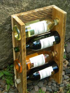 Unique Wine Rack, Pallet Wine Rack, Wall Wine Rack, 4 Bottle Wine Rack, Father's…