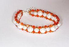 Handmade bracelet Handmade glass pearl bracelet Handmade crystal bracelet Handmade jewelry Glass pearl bracelet Crystal bracelet Beaded brac on Etsy, $15.00