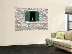 Dog in Window of House in Stari Grad Village Wall Mural by Will Salter at Art.com