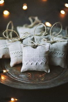 Linen lavender bag with angel and lace/ Light Grey by LINOHAZE