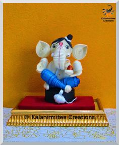 kalanirmitee: paper quilling- 3D quilling- quilled miniature- quilled ganesha