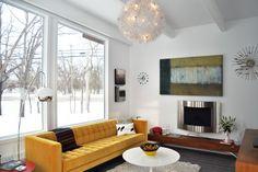 yellow sofa in modern living room 1958 Mid Century Modern Remodel- Sunroom Conversion Sofa Styling, Living Room Decor, Mid Century Living Room, Trending Decor, Sunroom Designs, Modern Remodel, Mid Century Modern Living Room, Sofa Design, Living Room Modern