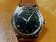 Tissot TISSOTティソ黒文字盤ハーフローター自動巻アンティーク 時計 Watch Antique ¥30000yen 〆05月21日