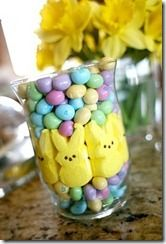 Peeps and m's... Don't know how long this would last at my house with a kid around but it's super cute:)