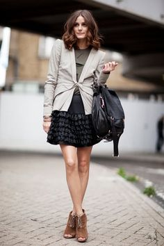 Outfit idea:  Cropped trench, gray tee, SBC black skirt, PLV triple lace flat boots, black tights