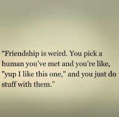 Do strange things with weird people- that's what friends are for