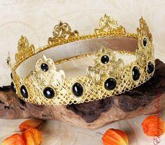 BLACK AGATE Gold Male crown Man costume Medieval Men's crown King Crown Dolce  #Handmade #HatsHeadwear