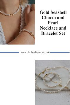 Get this gold plated seashell necklace and bracelet set for yourself or a gift for that special lady, who loves sunny days by the ocean. A really beautiful modern pearl jewellery set. Pearl Jewelry, Pearl Necklace, Seashell Necklace, Summer Jewelry, Bracelet Set, Pearl White, Sea Shells, Charmed, Pearls