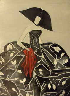 """Mujer con abanico rojo"" y ""Mujer con pañuelo"" de Mariluz 