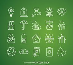 Label set featuring designs related to ecology and recycling, like windmills, solar panels, faucet, batteries, electric cars and recycling bins. Icons
