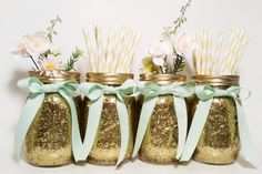Mason Jars Centerpieces Gold Wedding Decor Party Mint by LimeAndCo