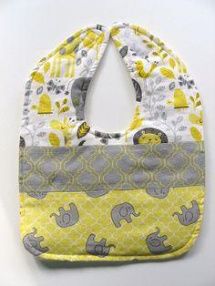 Ready To Ship - Patchwork Baby Bib - Jungle Animals Baby Bib - Yellow & Gray Elephants Bib - Patchwork Toddler Bib #24