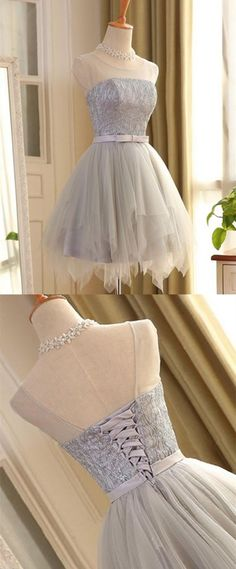 Cute A Line Sleeveless Scoop Short Silver Lace up Tulle Homecoming Dresses with Bowknot, Shop plus-sized prom dresses for curvy figures and plus-size party dresses. Ball gowns for prom in plus sizes and short plus-sized prom dresses for Lace Homecoming Dresses, Hoco Dresses, Cheap Prom Dresses, Ball Dresses, Dance Dresses, Dress Outfits, Ball Gowns, Evening Dresses, Fashion Dresses