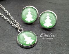 Schmuckset silber ❅ Weihnachtsbaum grün ❅ von Stardust Accessoires auf DaWanda.com