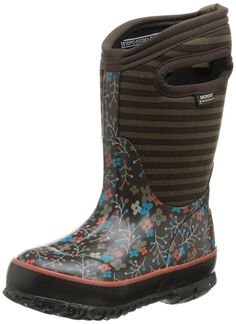 Bogs Kids' Classic Flower Stripe-K ** New and awesome boots awaits you, Read it now  : Girl's boots