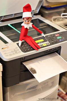 18 elf ideas: photocopying his tiny bottom, drinking syrup with a straw, emailing Santa he couldn't make it last night, TP the tree, making elf donuts(Cheerios), packing kids' lunches with dog food & such, locked out of the house-stuck to glass looking in,...etc.