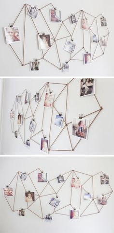 DIY Geometric Photo Display - Such an easy way to personalize plain walls!