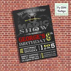 Magic Show invitation birthday party invitation magic show invite talent show digital printable invitation you print invite 13315
