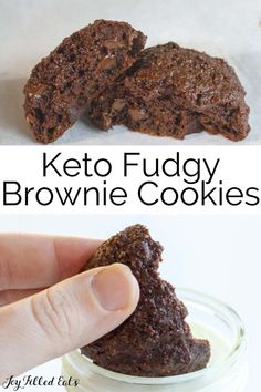 These rich and decadent Keto Brownie Cookies take two of the best things in the world and combine them into one tidy package. They are low carb, glute-free, chewy, chocolatey, and fudgy with plenty of chocolate chips in each and every cookie. These are nut-free using an inexpensive substitute for almond flour and have only 6 ingredients!