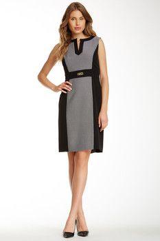 Tahari Tahari Sleeveless Jacquard Colorblock Sheath Dress