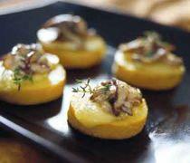 Polenta Toasts with Brie & Sautéed Mushrooms