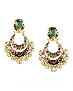 Meenakari Red Crescent Earring