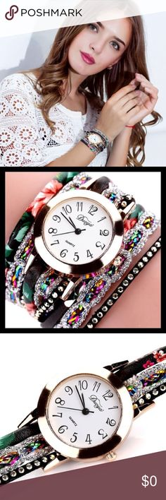 leather crystal & quartz wristwatch Leather bands with crystal stones to accent a diversity in color.  This watch will get noticed. Dimensions are listed in photo. THIS LISTING IS IN BLACK. Accessories Watches