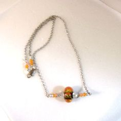 Lampwork necklace handmade orange sparkly bead crystals bar chain Pat2 #Pat2 #Beaded