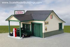 CARD STOCK N SCALE 2 CAR RED BRICK GARAGE  BUILDING