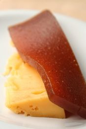 Queso y Dulce - a brilliant combination! It's a simple dessert featuring a slice of cheese and a slice of either dulce de membrillo or dulce de batata (sweet potato paste).