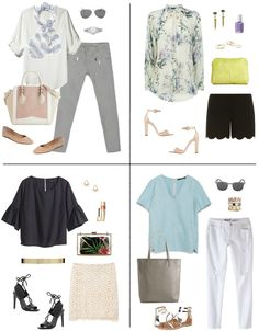 Chic Spring Looks. Love the bottom left. The patterned bag inside of the clear clutch is a great solution.