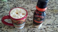 Pumpkin spice baileys creamer in coffee with whipped topping and caramel drizzle!!!