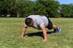 Walking Push Up. Step Four: Position your body to be lowered to the ground.