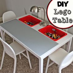 A collection of Lego tables from Ikea using clever hacks to convert affordable Ikea furniture into perfect Ikea Lego storage tables. Check it out! Table Lego Diy, Lego Table With Storage, Lego Storage, Storage Buckets, Lego Play Table, Lego Tray, Craft Storage, Ikea Hack Storage, Ikea Hacks