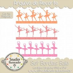 Set Bordas Balé, Ballet Borders Set, Dança, Dance, Música, Music, Poses, Sombra, Sapatilhas, Sneakers, Vestido, Dress, Bailarina, Ballerina, Corte Regular, Regular Cut, Silhouette, DXF, SVG, PNG