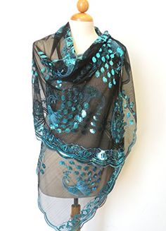 """Extra Long Teal Blue Peacocks Sequined Scarf ,Beautiful Designs , Elegant and Fashion Peacock For All Year Round , Size at 21 inch Width x 71 inch Length"""" . Please Note That Color May Vary Slightly Between Products and From What You See on Your Screen. Mothers Day Presents, Chiffon Scarf, Scarf Styles, Types Of Fashion Styles, Teal Blue, The Ordinary, Womens Scarves, Casual Wear, Fashion Brands"""