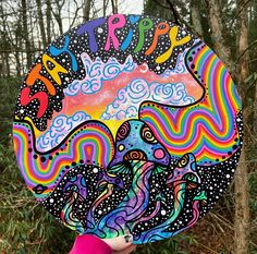 Behind The Scenes By trippydraws Trippy Drawings, Psychedelic Drawings, Art Drawings, Hippie Painting, Trippy Painting, Cute Canvas Paintings, Mini Canvas Art, Vinyl Record Art, Vinyl Art