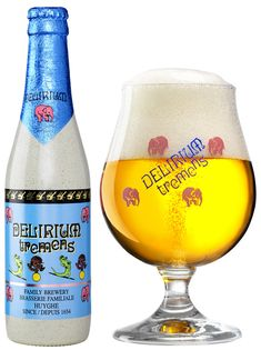 Every elephant lover's favourite beer. Delirium Tremens' pink elephants glass is a must for your collection of beer glassware. #beerlover