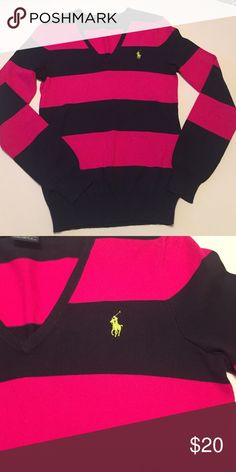 Ralph Lauren Sport v neck sweater. Cotton stripe v neck sweater in navy and magenta with lime emblem. Like New! Ralph Lauren Sweaters V-Necks