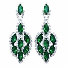 Green Drop Rhinestone Earring