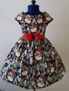Girls Snowmen Dress, Girls Holiday Dress, Girls Vintage Dress, Girls 4T Dress, Girls Christmas Dress, Girls Couture Dress, Pupolino. Vintage Girls Dresses, Girls Christmas Dresses, Christmas Clothes, Snowmen, Couture, Crafts, Fashion, Christmas Dress Up, Haute Couture