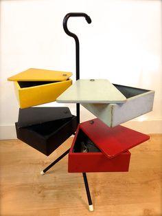 Joost Teders Metalux naaidoos naaistandaard Rietveld kleuren midcentury dutch furniture