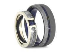 Blue Wedding Ring Set, Sapphire Engagement Ring With Meteorite Wedding Band, White Gold And Wood Wedding Ring, His and Hers Set