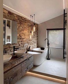 Rustic Master Bathroom, Rustic Bathrooms, Dream Bathrooms, Beautiful Bathrooms, Warm Bathroom, Natural Bathroom, Brick Bathroom, Home Room Design, Home Interior Design